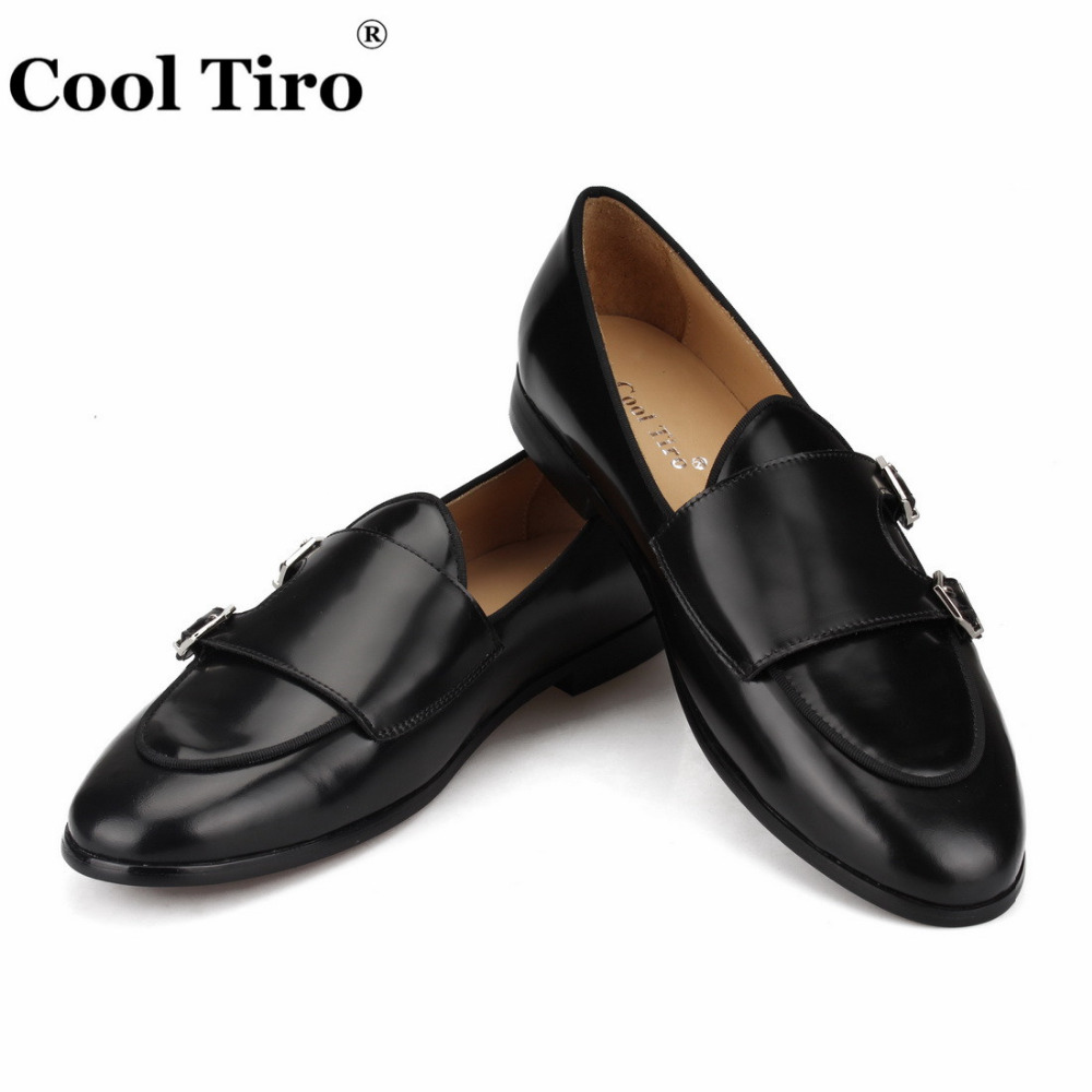POLISHED LEATHER DOUBLE-MONK LOAFERS Black (5)