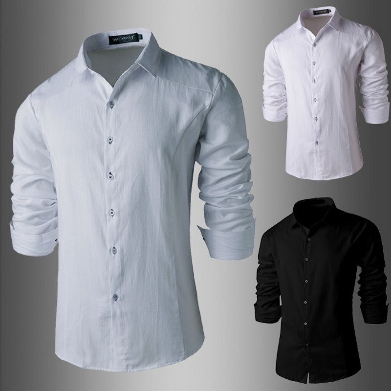 2018 Mens brand New Fashion Casual Men Long Sleeve Slim Shirt Men Business Men Dress Shirt Solid color High Quality Shirts XXL