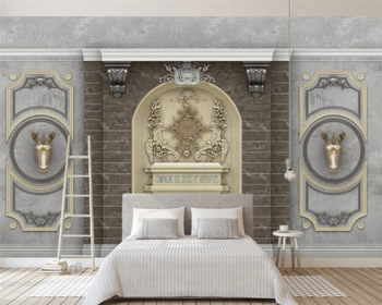 beibehang Customized retro embossed French carved simple European TV background papel de parede wallpaper papier peint behang beibehang custom fashion stereo wallpaper retro hand painted beauty clothing store tooling papel de parede papier peint behang