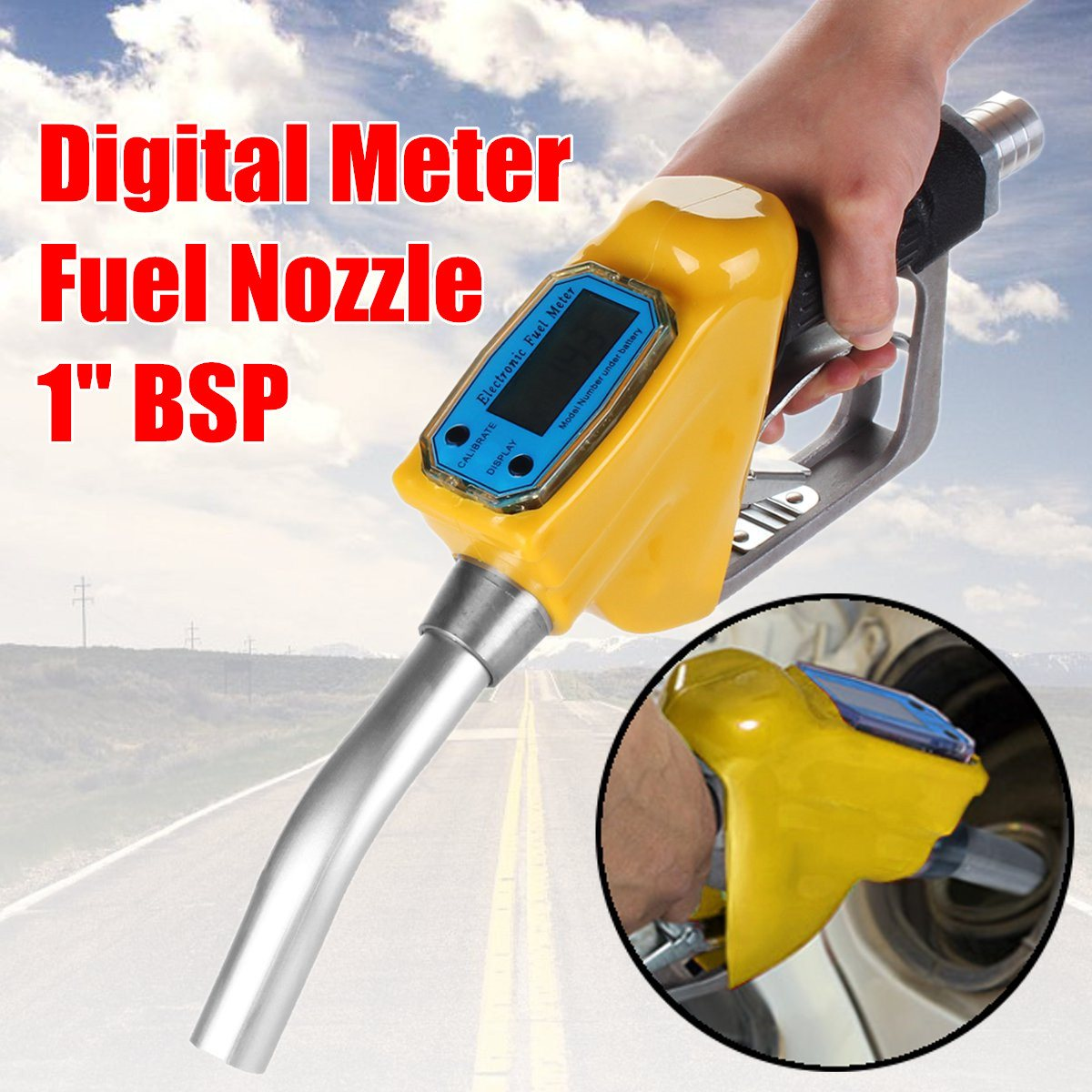 Brand New 1 BSP Gasoline Derv Petrol Nozzle Digital Flow Meter Delivery free delivery nozzle 253 433 512 kong