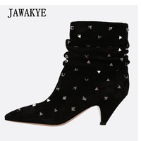 2019 Chic Design Suede Ankle Boots Women Pointed Toe Rivet Strange Heel Boots Women Fashion Short Boots