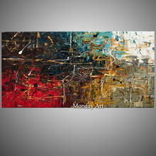 цена на Hand Painted Modern Abstract Blue Red Oil Painting On Canvas Living Room Home Wall Abstract Oil Picture for Decoration Arts