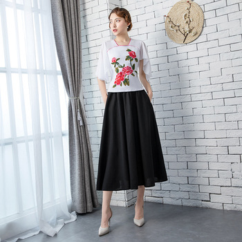 b2776bfbb02a 2018 de verano para mujer blusa falda establece nuevo estilo chino  tradicional 2 pc cuello mao camisa Cheongsam Qipao vestido S-XXL
