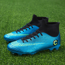 Kids Football Shoes Outdoor Sock Soccer Boots High Tip Boys Spike For Green Men Ankle