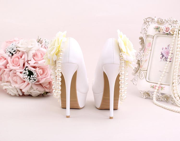 5_Women Dress Shoes For Wedding White Pearl Lace Flowers Bridal High Heel Platform Pumps 10cm 12cm 14cm Stilettos Footwear Online