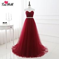TaoHill Custom Made Party Dresses Cheap A line Strapless Sweetheart Pleats Beading Waist Burgundy Bridesmaid Dresses