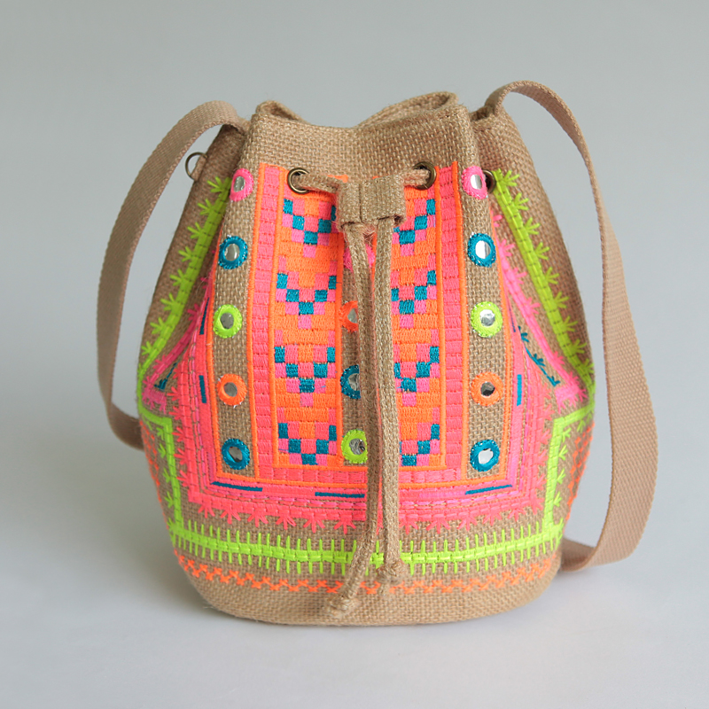 hot women ethnic embroidery handbags designer hmong handmade bucket bag suede canvas vintage. Black Bedroom Furniture Sets. Home Design Ideas