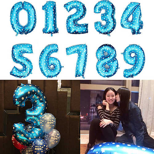 16 inch Number Balloon Blue Black Red Gold Silve Number Foil Balloons Baby Shower Happy Birthday Party Wedding Balloons Globos
