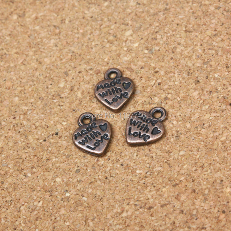 10x12x2mm 50pcs/lot 2016 New Fashion Antique Copper Plated Handmade Carve Made With Love Heart Charms Necklace Pendant