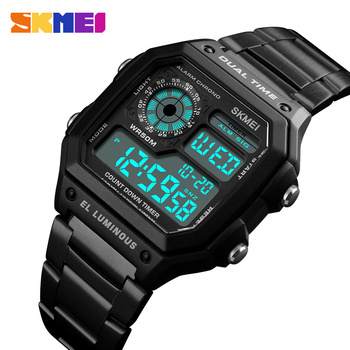 SKMEI Men Sports Watches Count Down Waterproof Watch Stainless Steel Fashion Digital Wristwatches Male Clock Relogio Masculino Мотоцикл