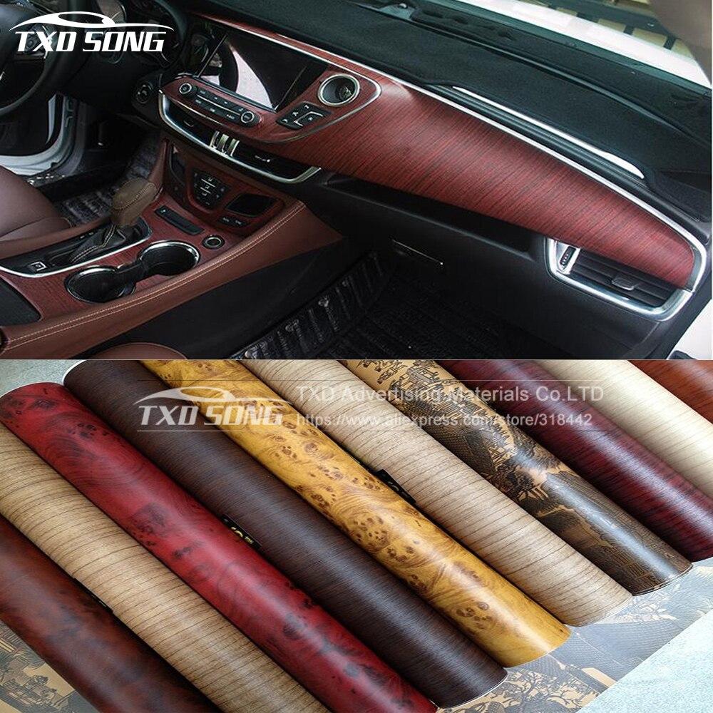 Car sticker design kuching - 10 124cm Lot Vinyl Wood Grain Textured Car Wrap Car Film Internal Stickers Waterproof
