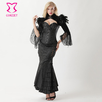 Black Victorian Corset Long Skirt and Vintage Jacket Outfits Sexy Corset Dress Vampire Costume Gothic Clothing Steampunk Dresses