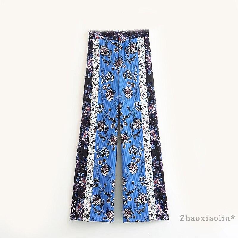 Europa Caliente Pantalones Pantalón Y Mujeres Poliéster 2018 Rayón Vadim Venta Color Ancho Los Azul Palazzo Impresión w0O0arqn8