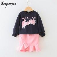 בגדי אופנה בנות להגדיר חולצה זיעה חדשה עם ורוד חצאית זנב דג אביב חליפת בגדי תינוקת חמודה למעלה + סטים לילדים חצאית