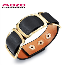 MOZO FASHION Women Charm Trendy Jewelry Black / Orange / Leopard Wide Leather Rope Bracelet Vintage Bangles Party Gifts MPH1004