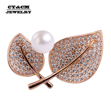 New Fashion Design Zircon Brooches Jewelry Leaves High-Grade Crystal Zirconia Female Winter Sweater Pin Accessory Gifts For Men