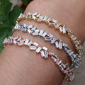 new Fashion AAA cubic zirconia Baguette bracelet thin bangle cuff copper base with gold plated