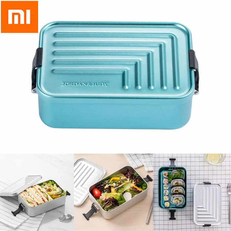Xiaomi Jordan&Judy 1.4L Aluminum Lunch Box Bento Case Food Meal Container Camping Picnic Dinnerware Food Storage Container