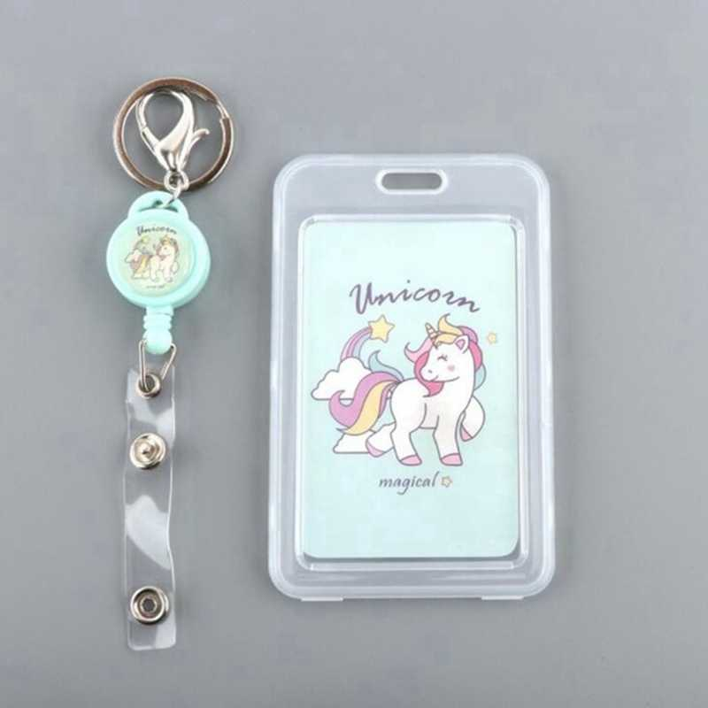 FHADST The Pony dibujos animados PVC tarjeta de crédito titular lindo unicornio negocios Cactus ID Card B caso niños regalo pasaporte banco carpeta de la tarjeta
