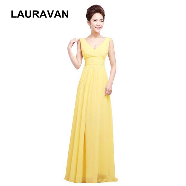 5ab37198650 formal special occasion V neck robe longue yellow red long fitted  bridesmaid dresses 2018 the girls dress free shipping