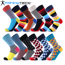 Fancyteck Unisex Women's Fun Dress Socks Colorful Socks for Men 12 Pairs/Pack Cotton