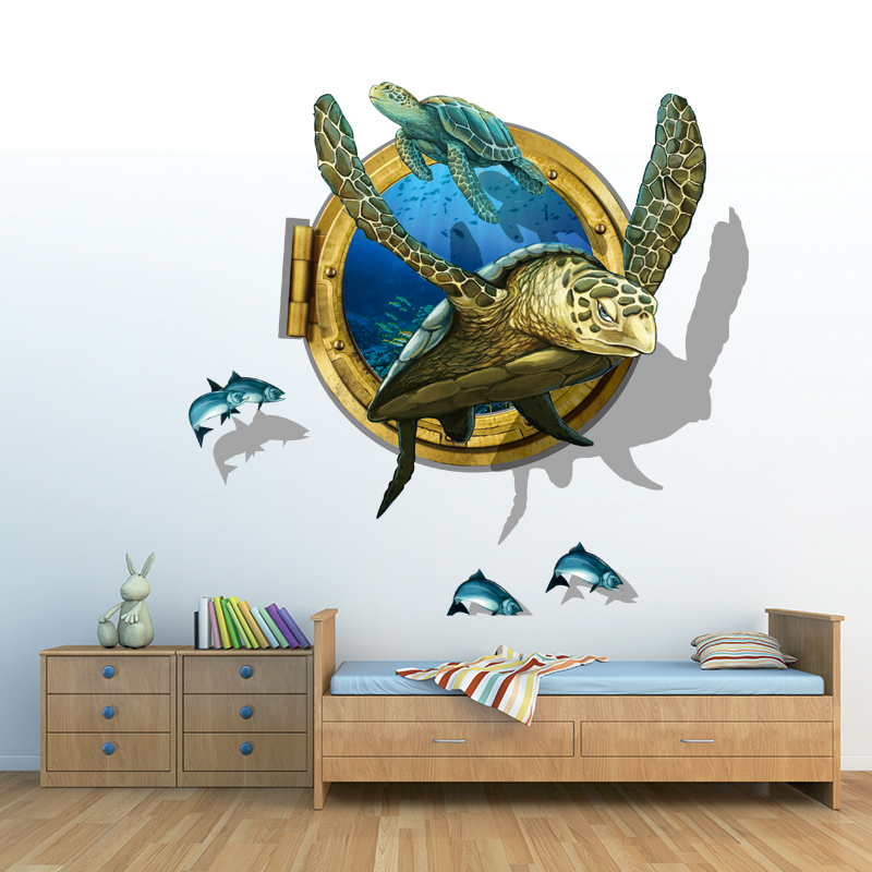Buy sea aquarium turtle 3d wall stickers for 3d wall art wallpaper