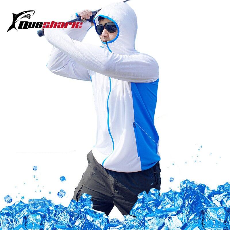Queshark Men Women Sun-Protective Fishing Jacket Cycling Jersey Quick-dry Anti-mosquito Long Sleeve Hiking Fishing Clothing