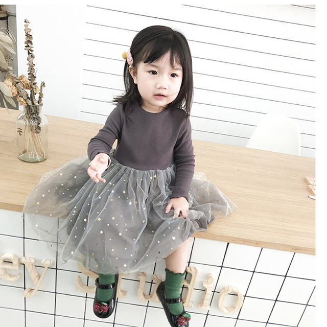 Cute Long Sleeved Cotton Dress with Ruffles