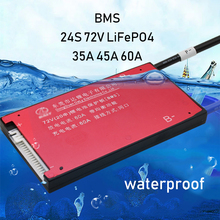 24S 72V 84V lipo ליתיום LiFePO4 Li סוללת ליתיום הגנת לוח BMS איזון עמיד למים ברזל 30A 40A 60A 24 תא PCB eBike