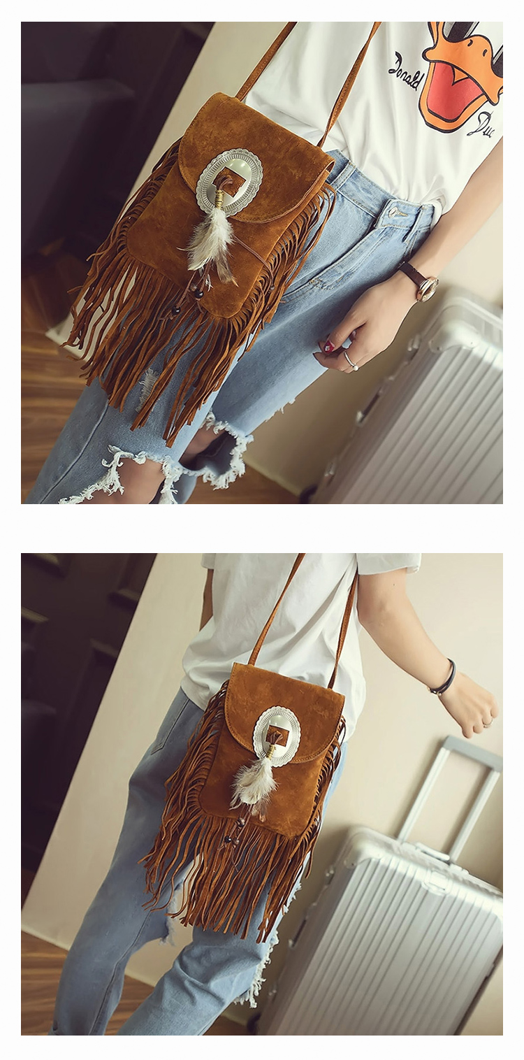 Female Small suede Bag Brown Beaded Feathers Hippie American Indian Tribal Bohemian Boho Chic Ibiza Style Pouch Bag (21)