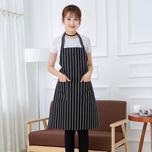 Image 5 - מטבח יוניסקס סינרי מתכוונן שחור פס סינר סינר עם 2 כיסים שף מטבח לבשל כלי לגבר אישה