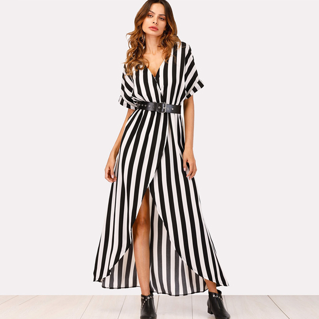 89cb45d00075 Women Summer Asymmetric Boho Long Dress Sexy Black White Striped Batwing  Sleeve Split Belted Party Holiday Casual Maxi Dresses