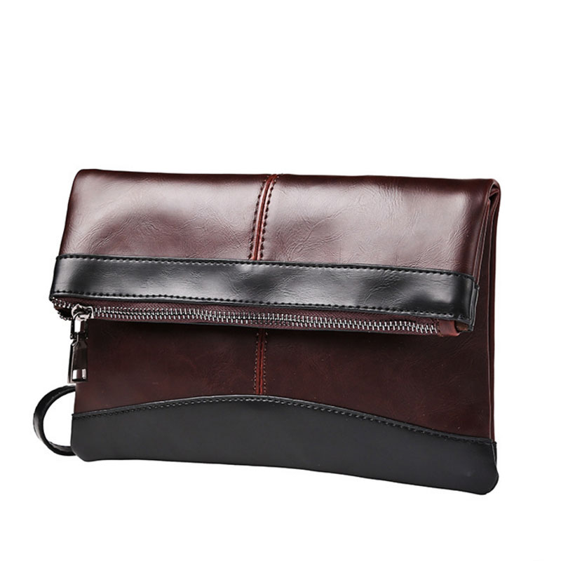Analytisch Neue Männer Splice Crazy Horse Pu Leder Kupplung Tasche Freizeit Tasche Business Mode Tasche Datei Paket Tragbare Handgelenk Tasche Brieftasche