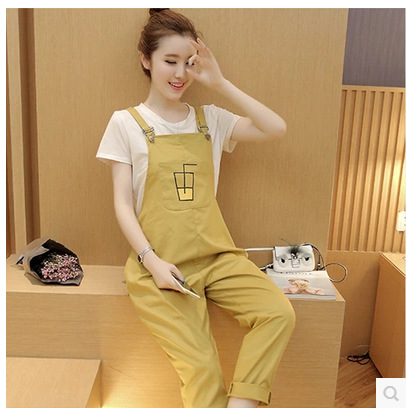 Casual Maternity Bib pants Overalls For Pregnant Women Four Seasons Jumpsuit Female Rompers Plus Size Suspender Trousers J437 ...