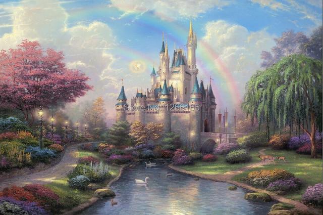 d14 thomas kinkade new day at the cinderella castle cartoon oil