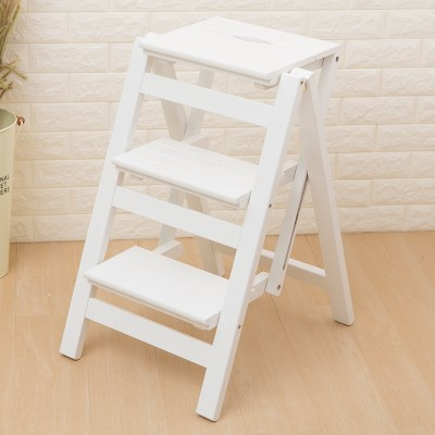 Multi-layer Folding Rack Ascending Stair Chair Stool Three-step Ladder Chair Ladder Stool Ladder Solid Wood KT708247