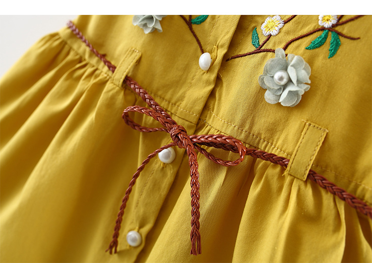 Baby Dresses Girl Summer Clothes with Belt Embroidery Flower Baby Dress for Girl Ruffle Cotton Vestido Infantil in Dresses from Mother Kids