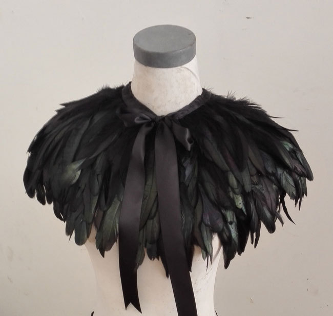 3 layer black rooster coque feather capelet CC12013