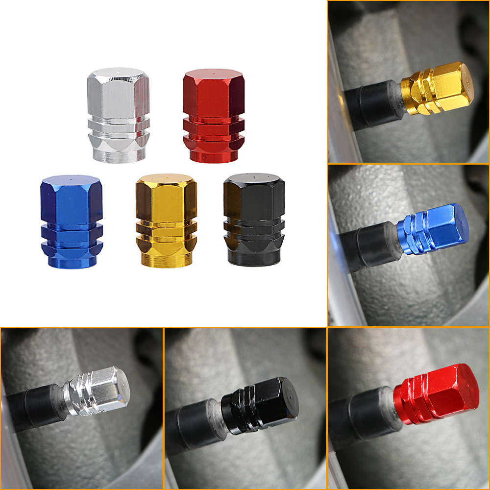 4PCS Universal Aluminum Alloy Car Tyre Air Valve Caps Bicycle Tire Valve Cap Motorcycle Stem Bolt Covers Car Wheel Styling