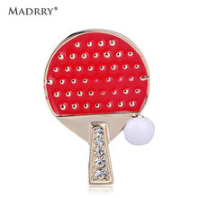 Madrry Latest Ping Pong Paddle Table Tennis Ball Shape Brooch Shiny Crystal Red Enamel Brooch For Women Man Corsage pin Jewelry(China)