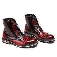 Натуральная кожа мужские ботильоны модные повседневные ботинки с круглым носком на шнуровке 2018 Ботинки Martin мужские высокие военные рабочи