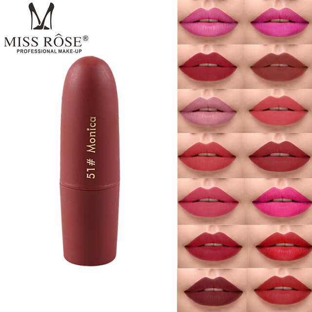 Miss Rose matte lipstick for lip makeup 25colors gold black red lipstick pencil waterproof long lasting nude brown lip MS058