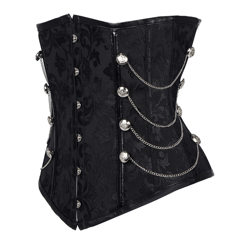 Hot sale New Women Black Brocade Steampunk Corset Gothic Clothing Sexy Bustier Lace up Boned Top Corset Underbust Body Shaper