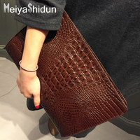 Hot New Crocodile Envelope Bag Women Envelope Clutch Party Evening Bags Vintage Lady Leather Handbags Tote