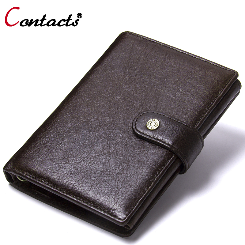 Contact's Genuine Leather Wallet Men Coin Purse Male Clutch Credit Card Holder Passport Cover Organizer Wallet Travel Money Bag travel passport cover wallet travel multi function credit card package trip id holder storage organize clutch money bag h 125