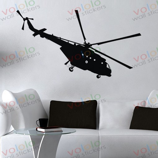 Helicopter Wall Sticker Airplane Wall decor Boys bedroom decoration ...