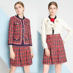 Юбка костюмы женский 2018 осень-зима Новый шею Однобортный куртка с длинными рукавами + оборками рубашка + клетчатая юбка комплекты S-XL