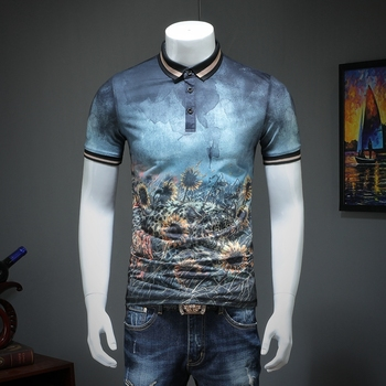 01982fdbe56 2019 summer men lapel POLO short-sleeved shirt printing qiantang qt2009  article number T318 P75