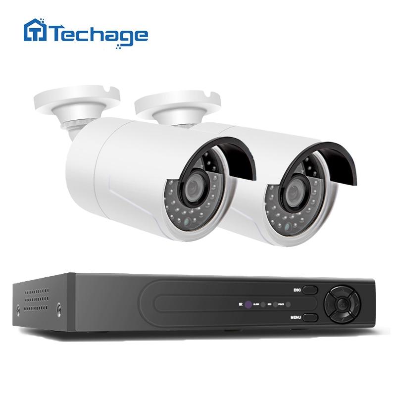 4CH 48V POE NVR DVR H.265 CCTV System 2PCS 4MP POE IP Camera 2592*1520 IR Night Vision Outdoor Video Security Surveillance Kit
