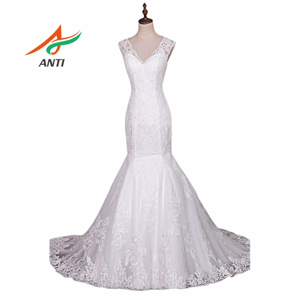 ANTI Real Mermaid Wedding Dress Appliques Detachable